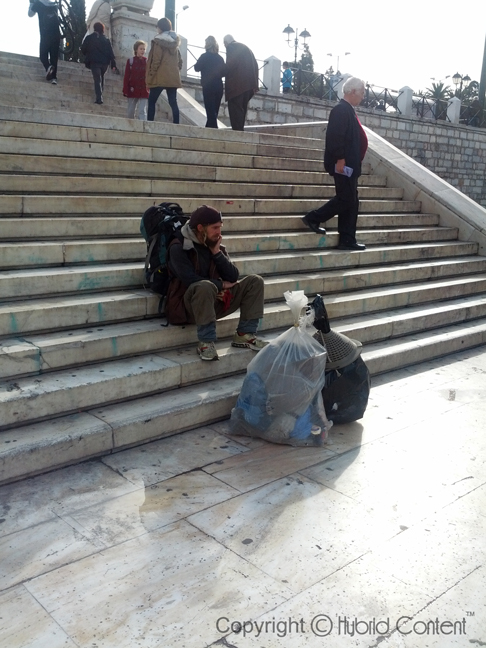 homeless man in athens